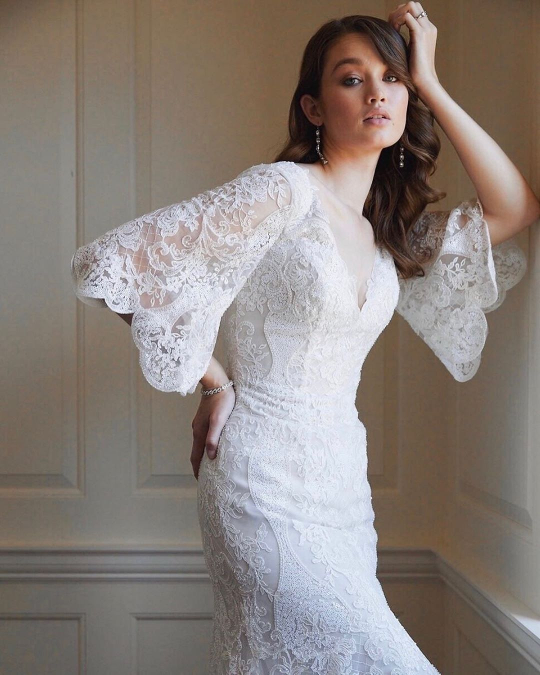 Lace Wedding Gown With Bell Sleeves Wedding Gowns Lace Bridal Style Wedding Dresses [ 1350 x 1080 Pixel ]