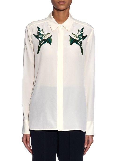 Stella McCartney Arlo embroidered silk blouse