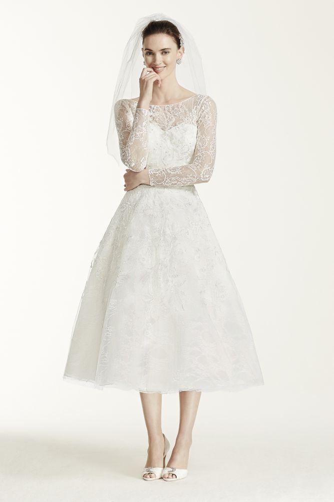 Short Oleg Cassini Tea Length Lace Tulle Wedding Dress White 4