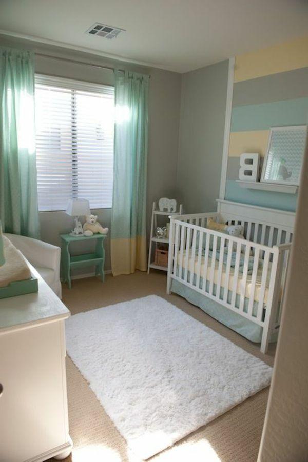 Türkis Und Graue Farbe Für Ein Kleines Babyzimmer 45