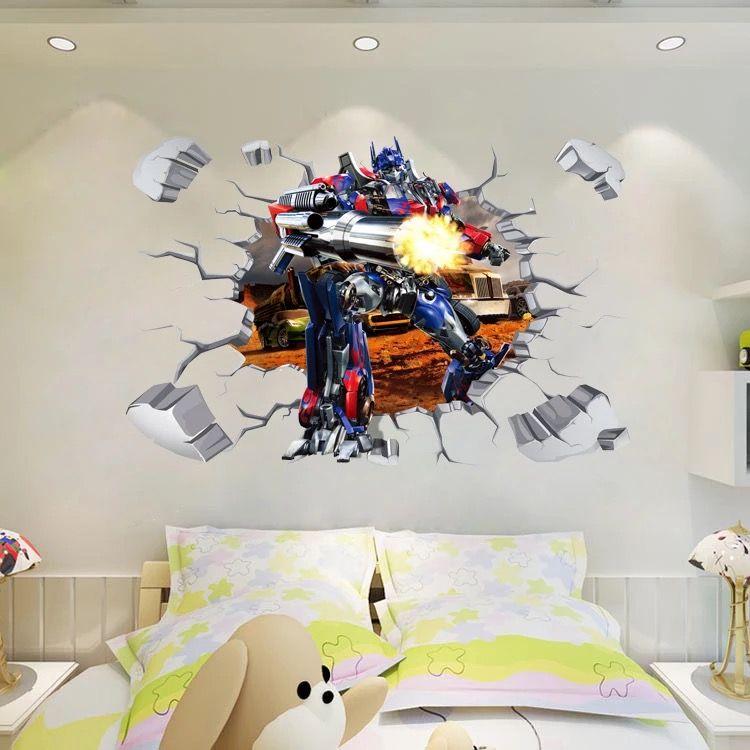 Wall Sticker Transformers Autobots Optimus Prime Kids Room Decor Mural Art Decal