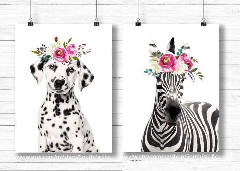 Dalmation and Zebra Set of 2 Printable art Cute Flower