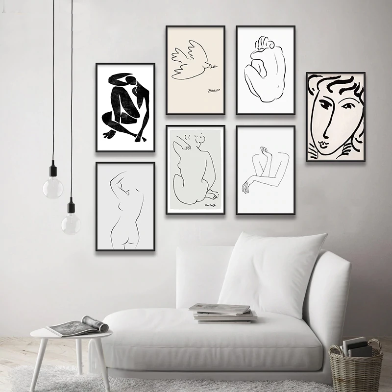 Vintage Vogue Famous Artists Abstract Sketch Matisse Picasso Figure Art Drawings Fine Art Canvas Prints Picasso Sketches Abstract Sketches Minimalist Wall Art