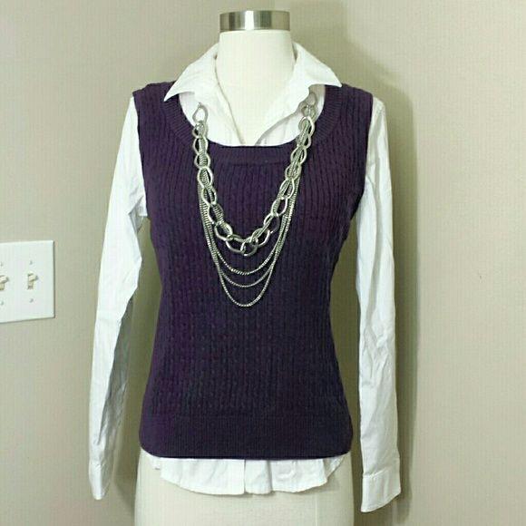 Nwt Purple Cable Knit Sleeveless Sweater Vest Tank Scoop Neck Purple