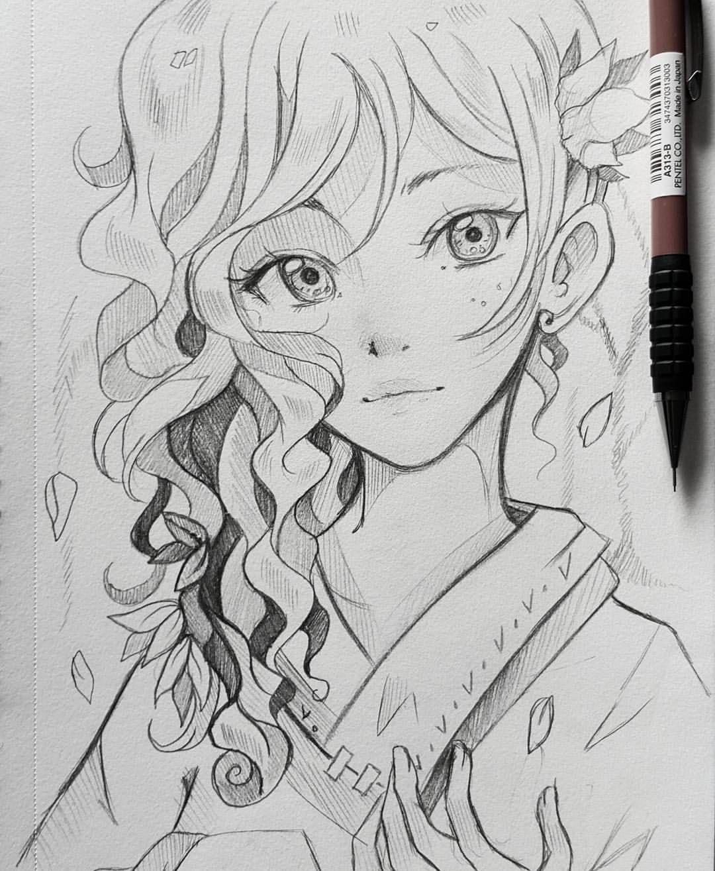 Cute drawings anime girl drawings amazing drawings anime artwork pencil drawings