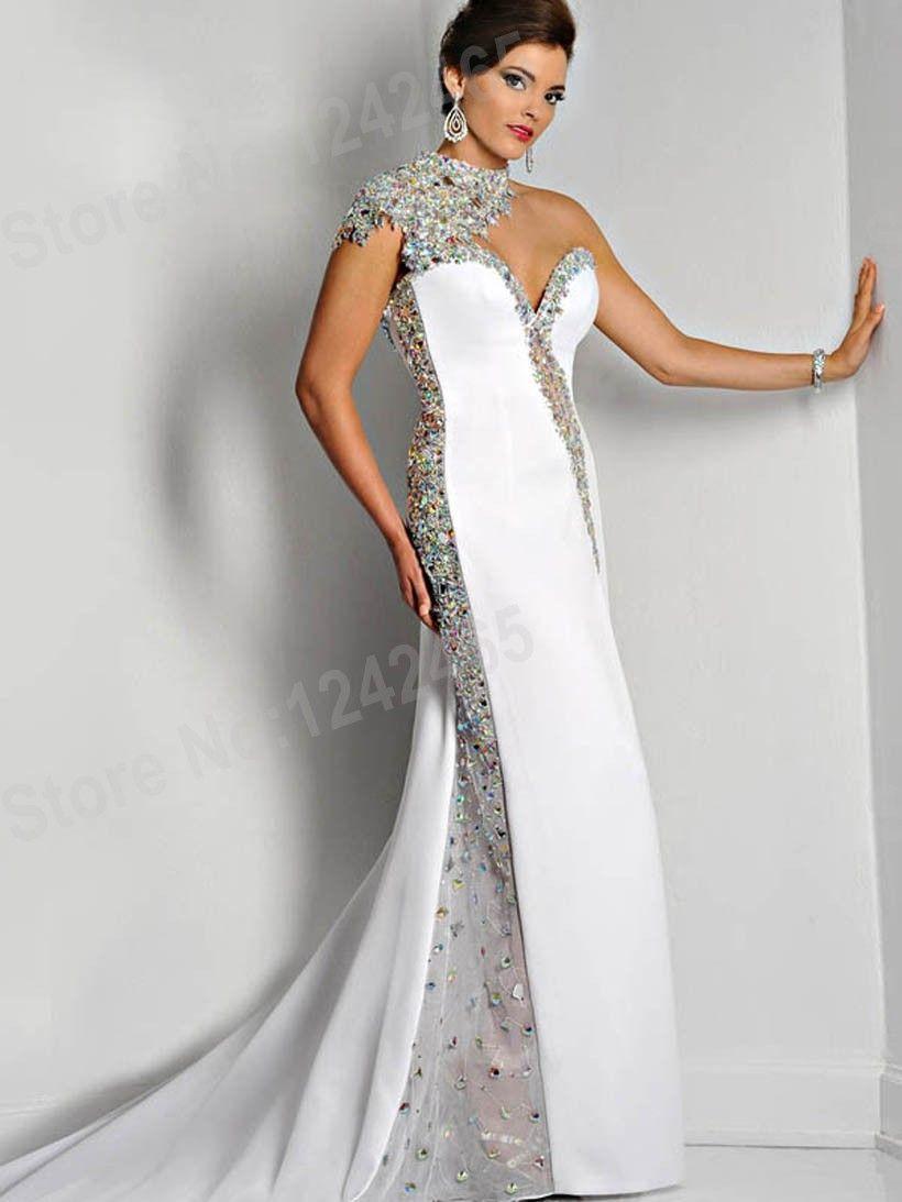 Günstige Weiß Meerjungfrau High Neck Backless Abendkleider 2015 ...