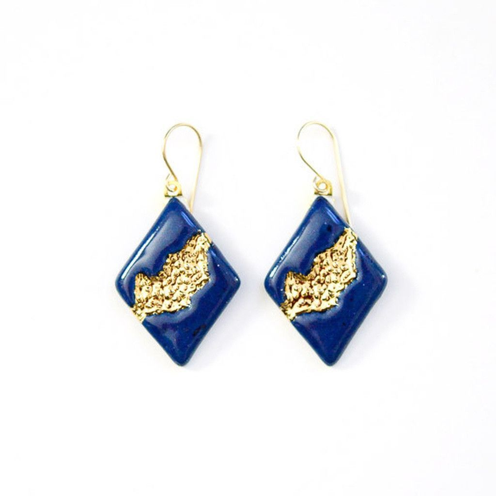 Navy Riverbed Earrings