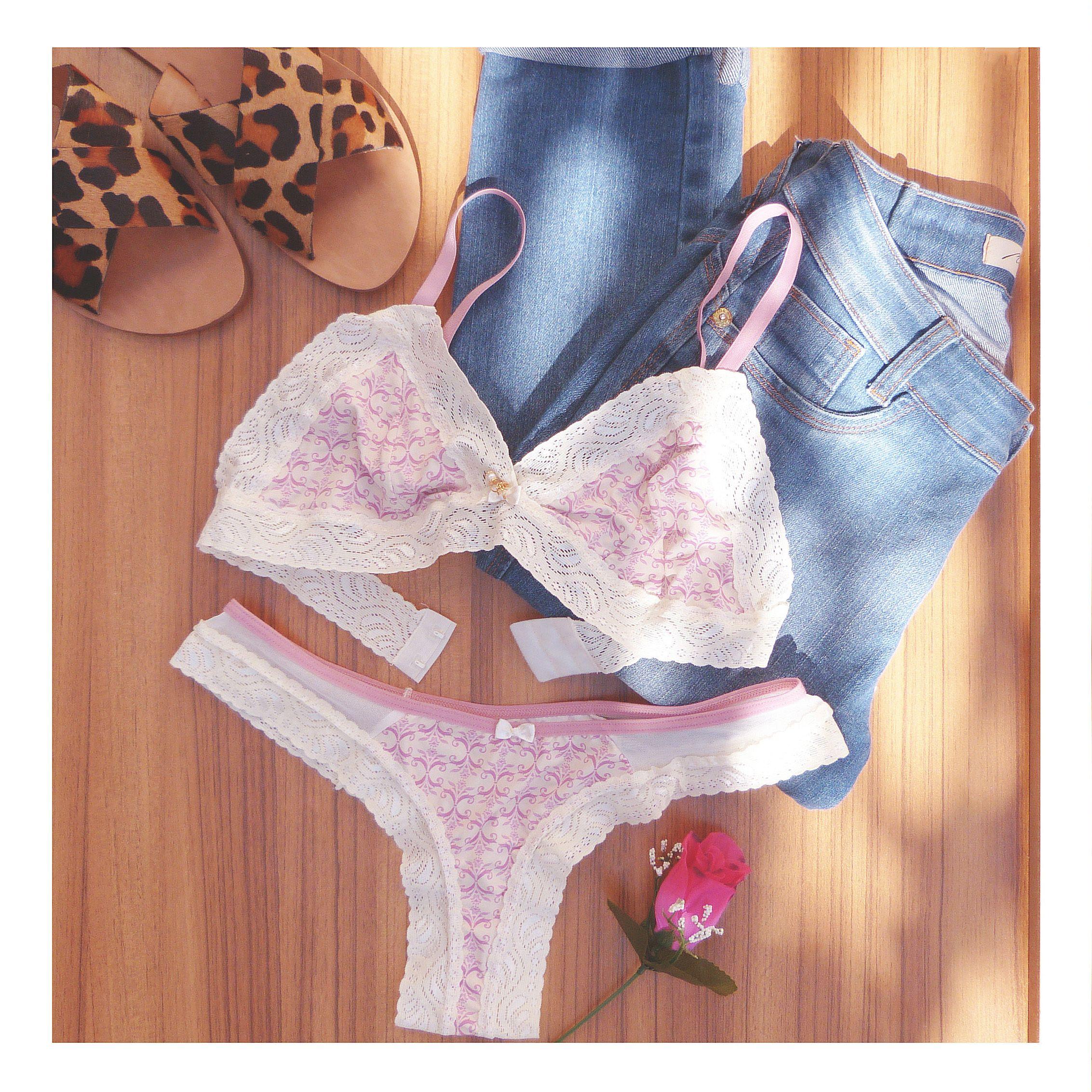 4557ae8da Conjunto de lingerie em microfibra e renda