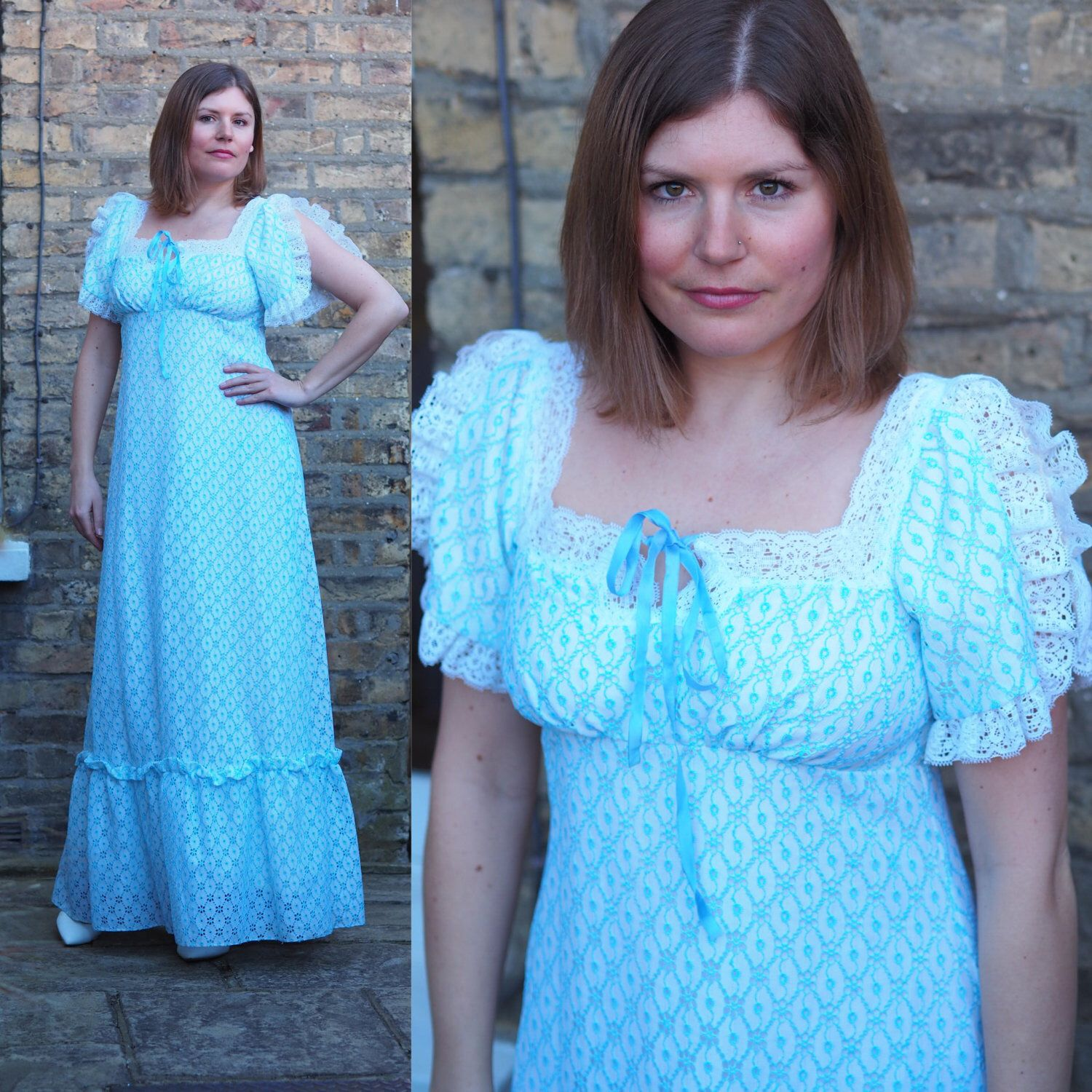 Stunning vintage s baby blue lace maxi dress boho bridesmaid