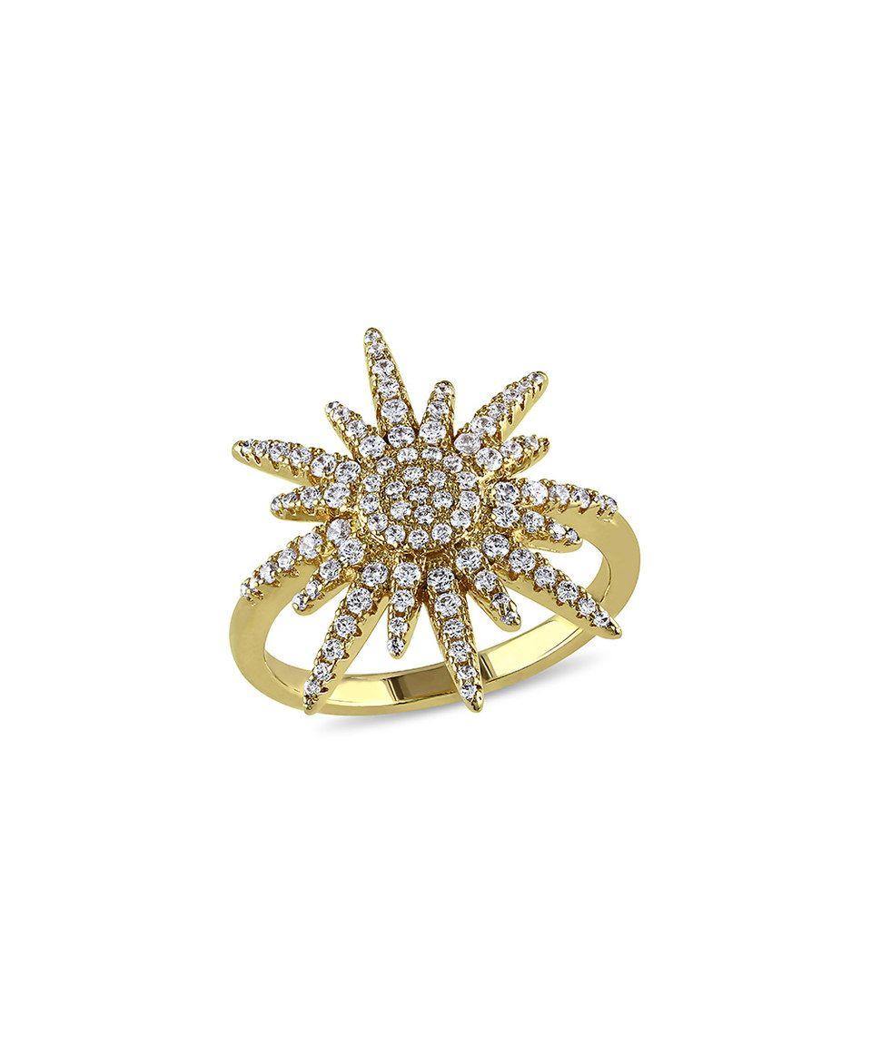 Loving this Mimi & Max Cubic Zirconia & Goldtone Sunburst Ring on #zulily! #zulilyfinds