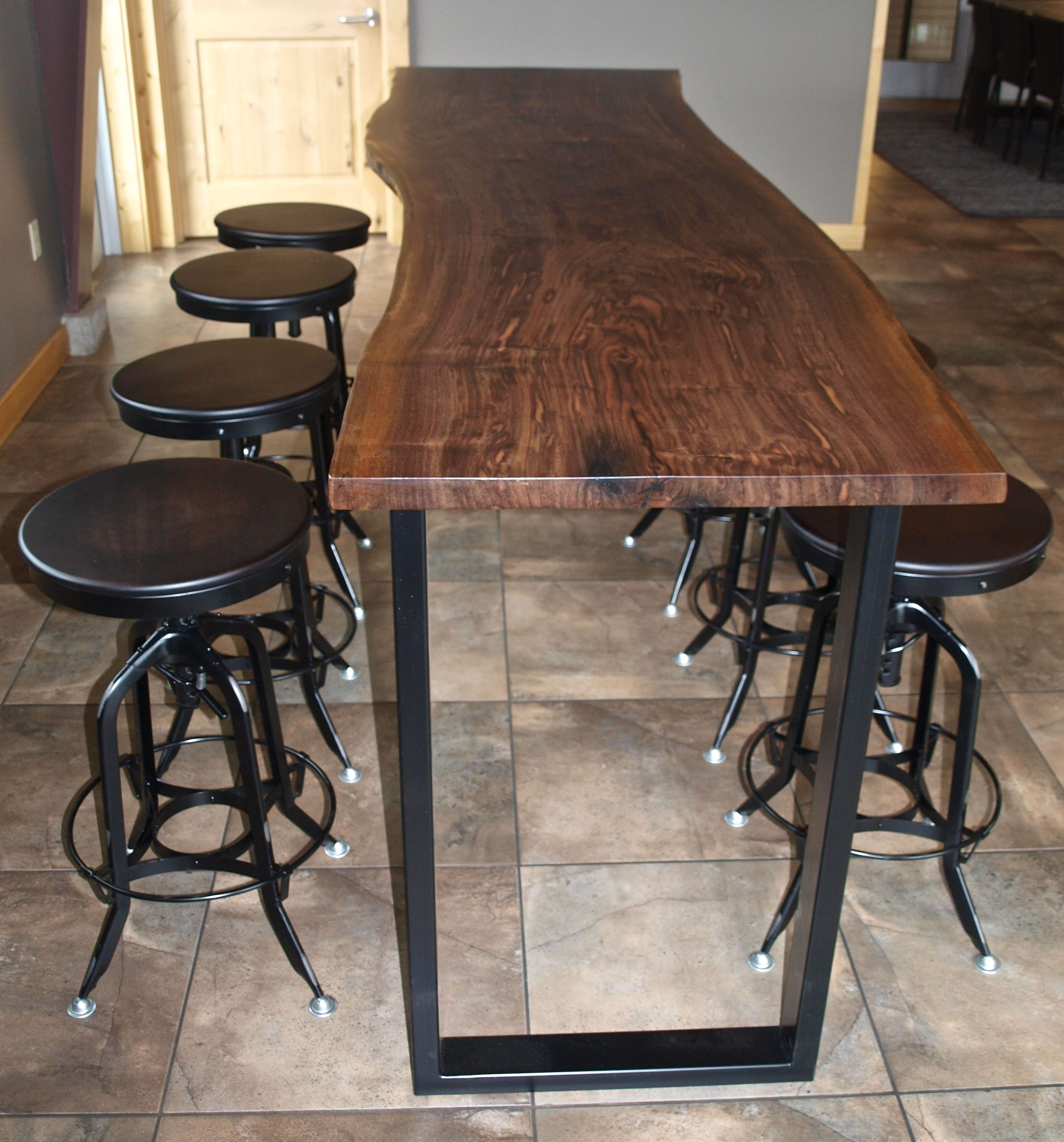 Bar Custom Wood And Woods: Custom Made Live Edge Walnut Bar Height Table