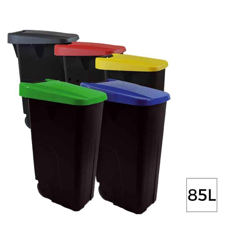 Lot De 10 Eco Mix Poubelle Tri Selectif Plastique Avec Roues 85l