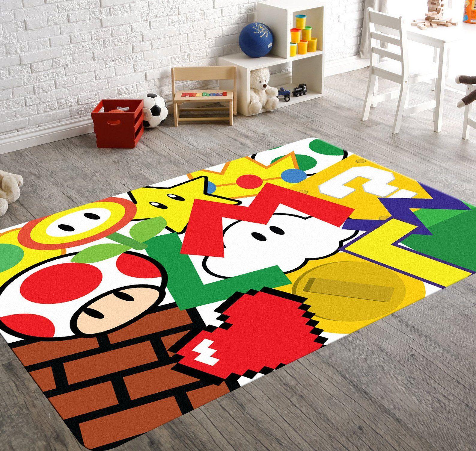 Super Mario Rug Playroom Rug Video Game Room Decor Super Etsy