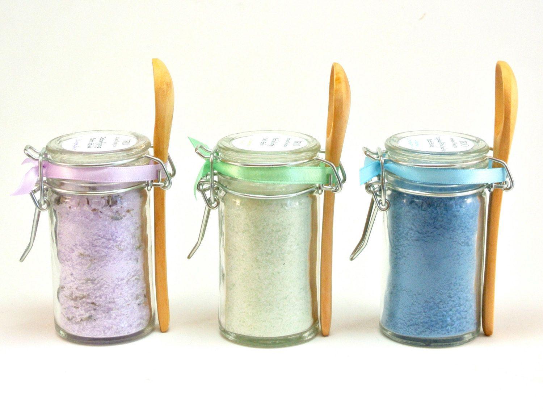 Bath Salt Favor, 15 Mini Snap Top Jar with Spoons, Wedding & Spa ...