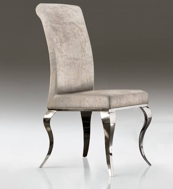 Modern Baroque Polished Stainless Steel Dining Chair High End