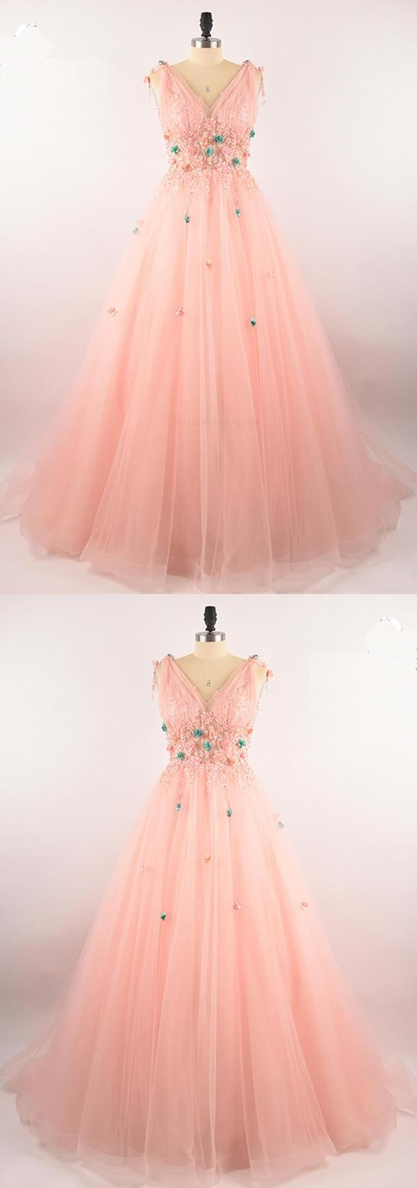 Pink lace unique qprom puffy dresses for party
