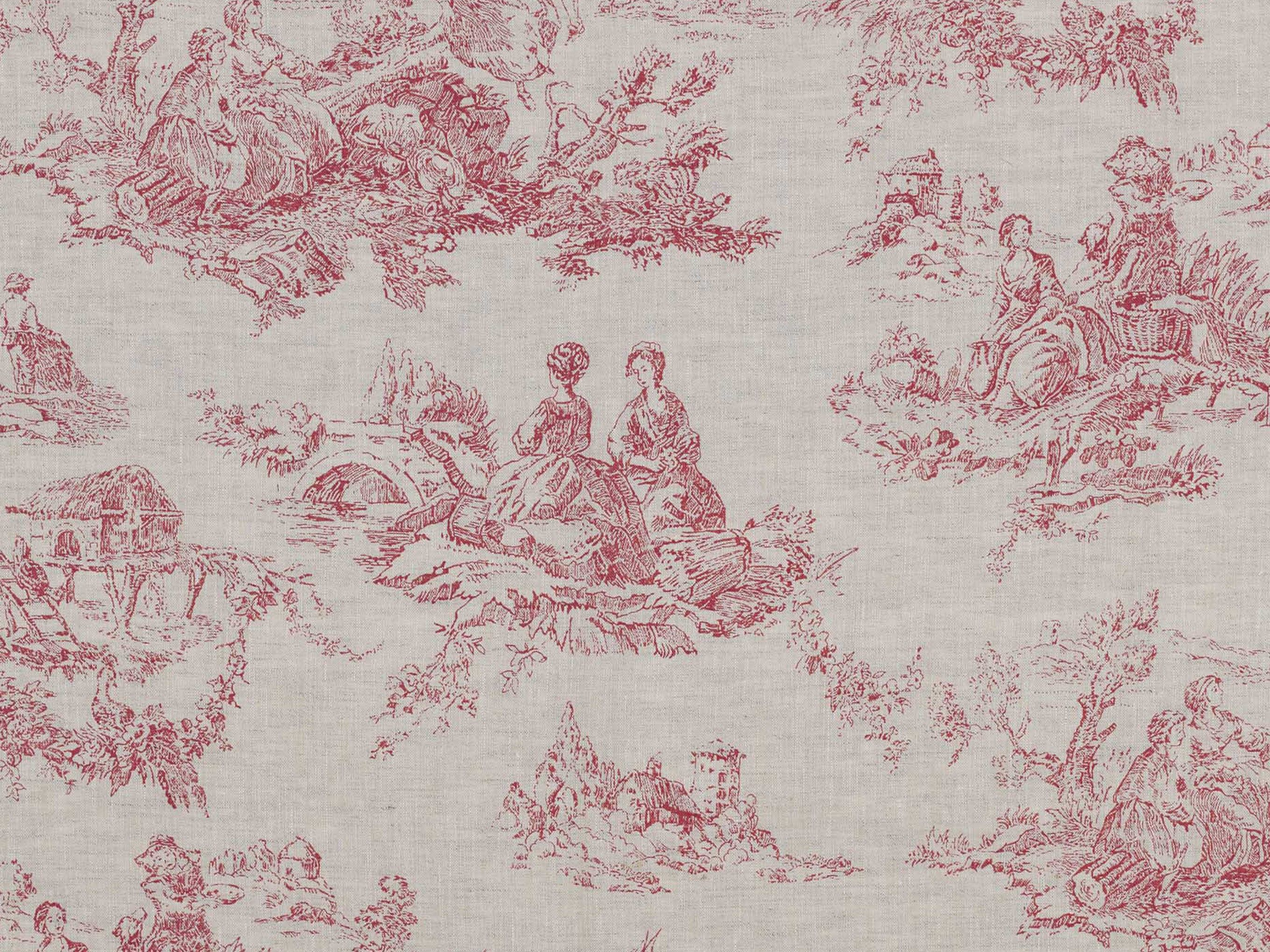 toile de poulet raspberry swatch toile cabbage and. Black Bedroom Furniture Sets. Home Design Ideas