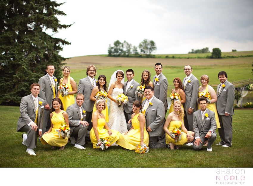 large bridal party. haha this will be us...wait Katie will have more  love the pop of color (cute not the typical line up)