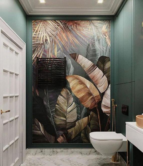 Photo of Tropical Wallpaper, Big Banana Leaf, Peel and Stick, Black Bacground, Living Room Decor, Art Wall Mu