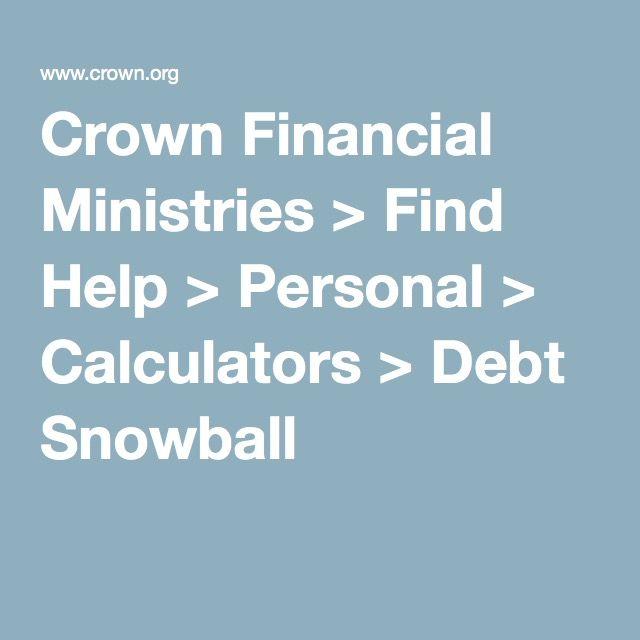 Crown Financial Ministries u003e Find Help u003e Personal u003e Calculators - debt payoff calculator