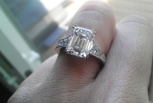 3.77-carat emerald-cut diamond ring with French-cut side stones