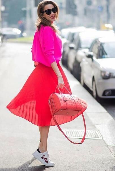 65bf0869a0 Hot pink and bright red are THE color combination of the year!