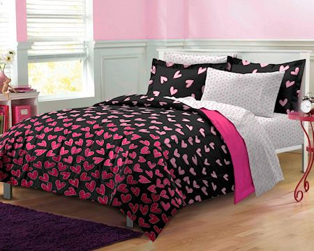 Best Hot Pink Black Wild Hearts T**N Girl Bedding Twin Twin 400 x 300