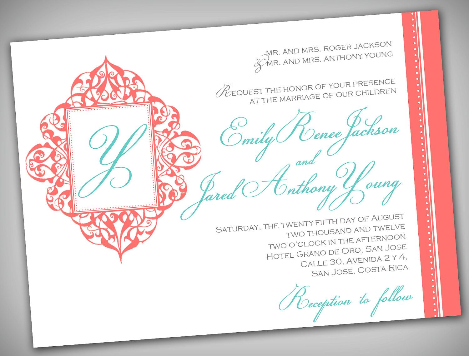 Coral and Turquoise Printable Wedding Invitation Elegant Coral