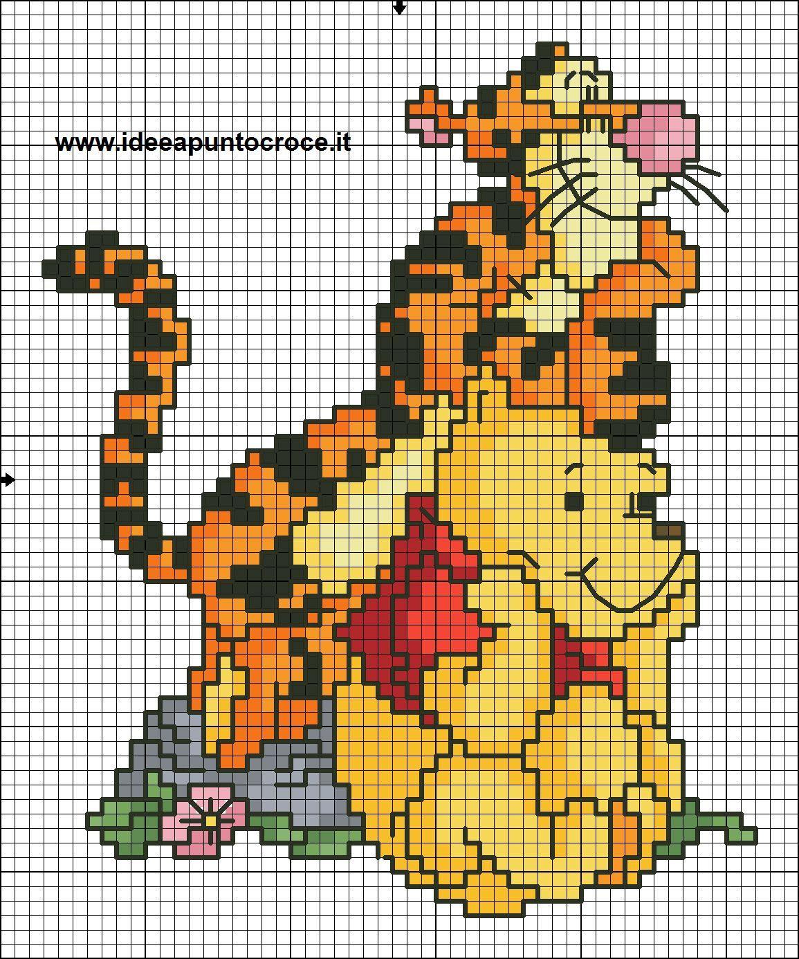 schema punto croce winnie pooh e tigro