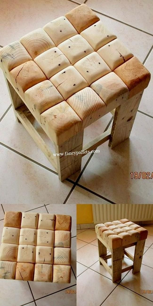Lovely Pallets Stool - wooden furniture. More inte... - #bank #Furniture #inte #Lovely #Pallets #Stool #wooden