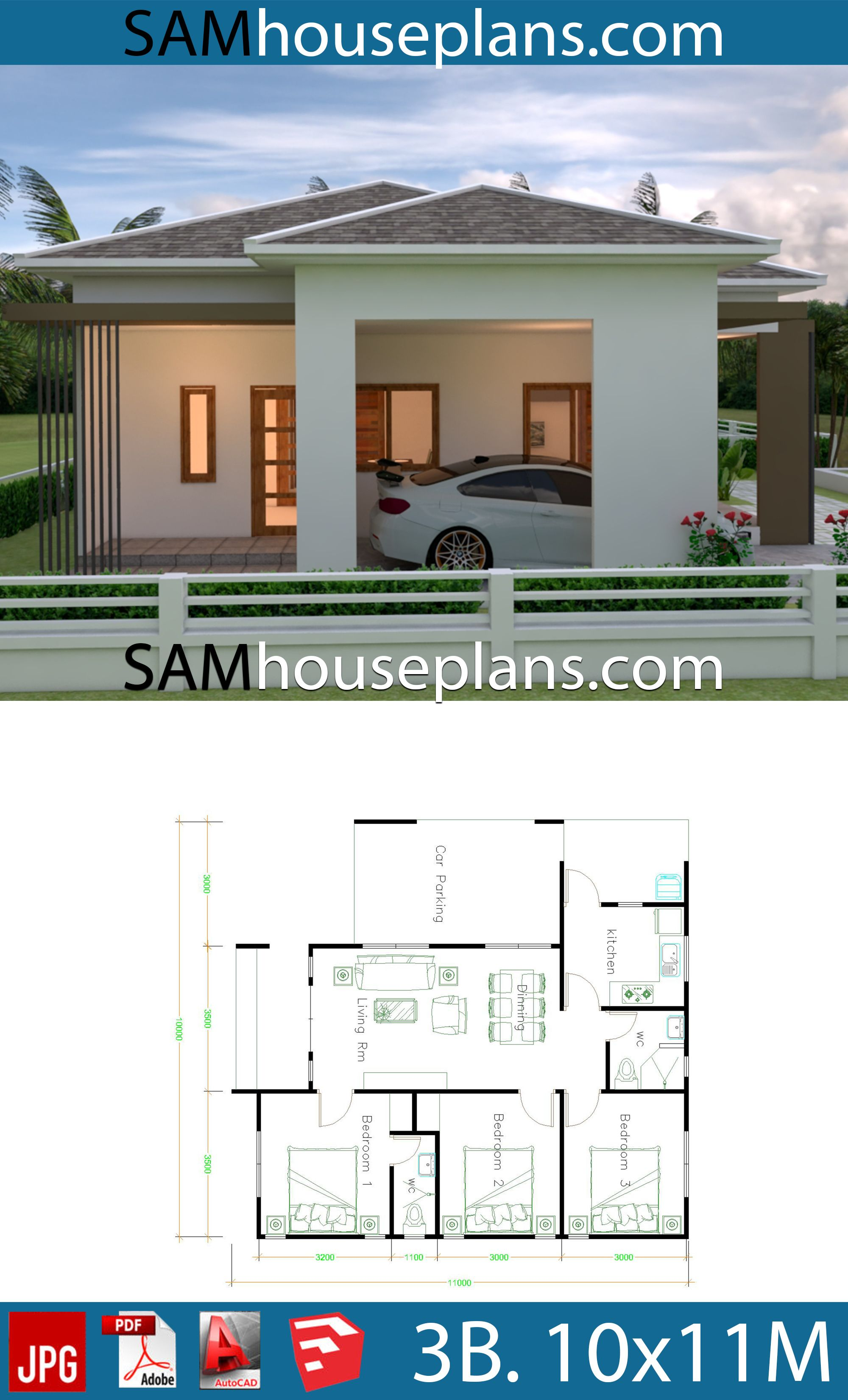 House Plans 10x11 With 3 Bedrooms Roof Tiles House Plans Free Downloads House Plans With Pictures Modern House Plans House Plans