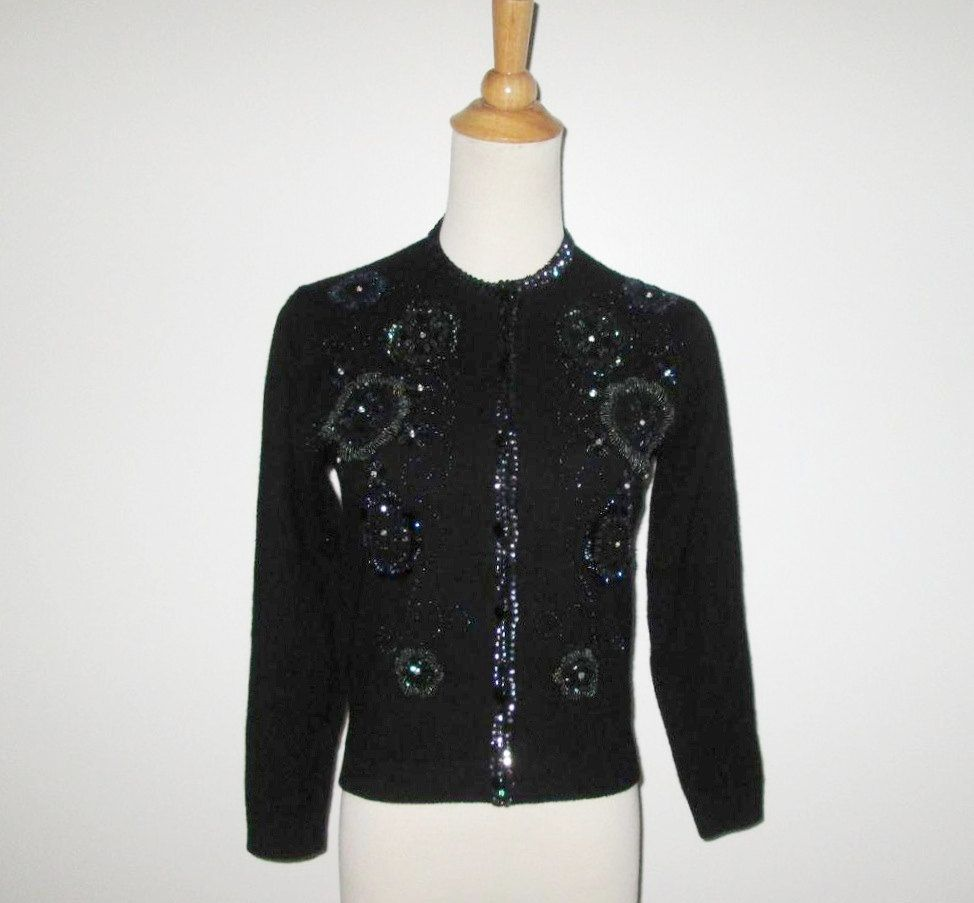 Vintage 1950s Sweater / 50s Black Sequin Beaded Rhinestone Sweater ...
