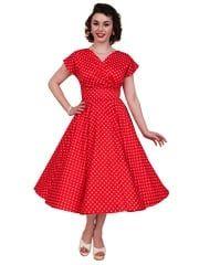 1950s Style Vivien of Holloway Pencil Bombshell Dress Red Polka Dots Pin-Up