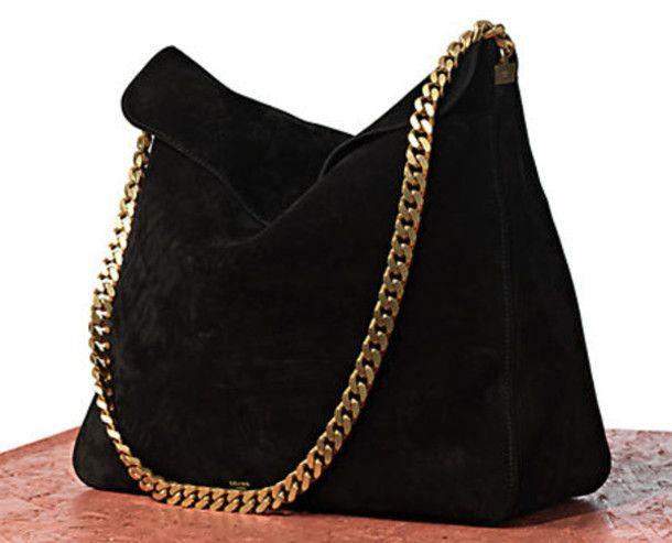 Celine Yuri Gold Chain Suede Shoulder Bag | A C C E S S O I R E S ...