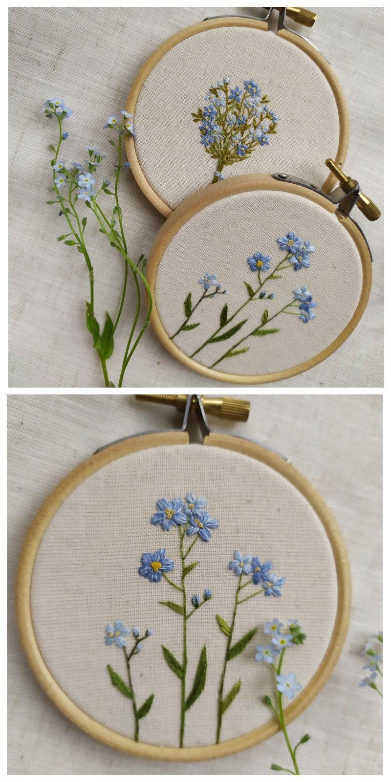 embroidery art, blue bouquet