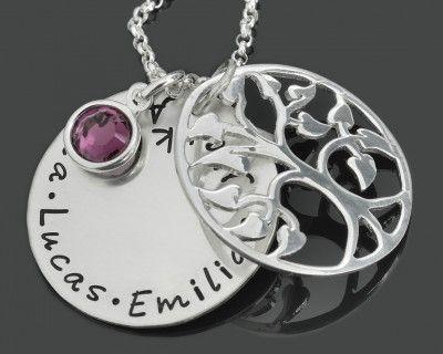 Lebensbaum Kette mit Ihren Wunschnamen, eine Familienkette aus 925 Silber
