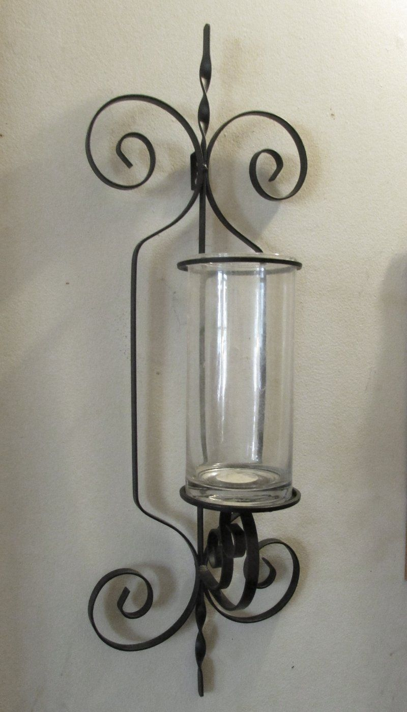 Wrought Iron Wall Sconce Candle Holder / Vase XL | Candle ... on Wrought Iron Outdoor Candle Sconces id=21270
