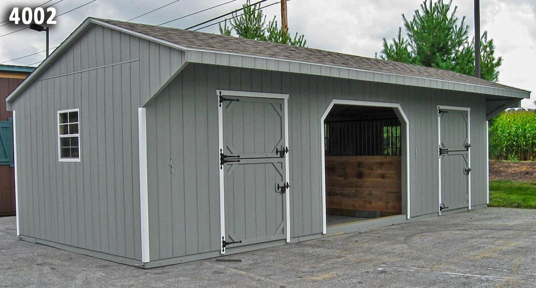 2 Stall Barn With Center Run In Or Hay Equipment Storage Area Barn Pinterest Barn Horse