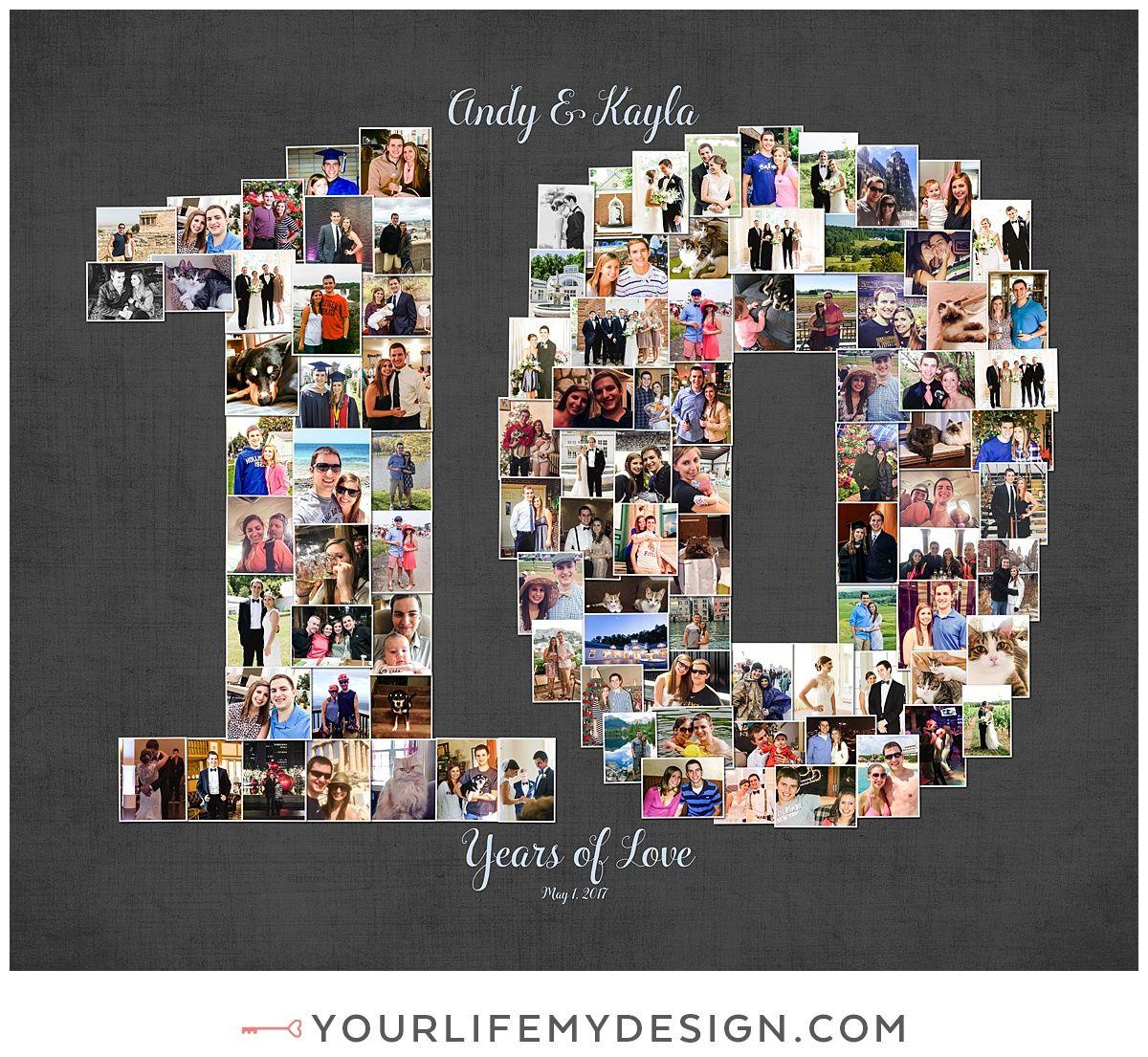 20x40 With 103 10 Year Anniversary Photos Collagedesign By Http Yourlifemy 10 Year Anniversary Gift 10 Year Wedding Anniversary Gift Anniversary Pictures