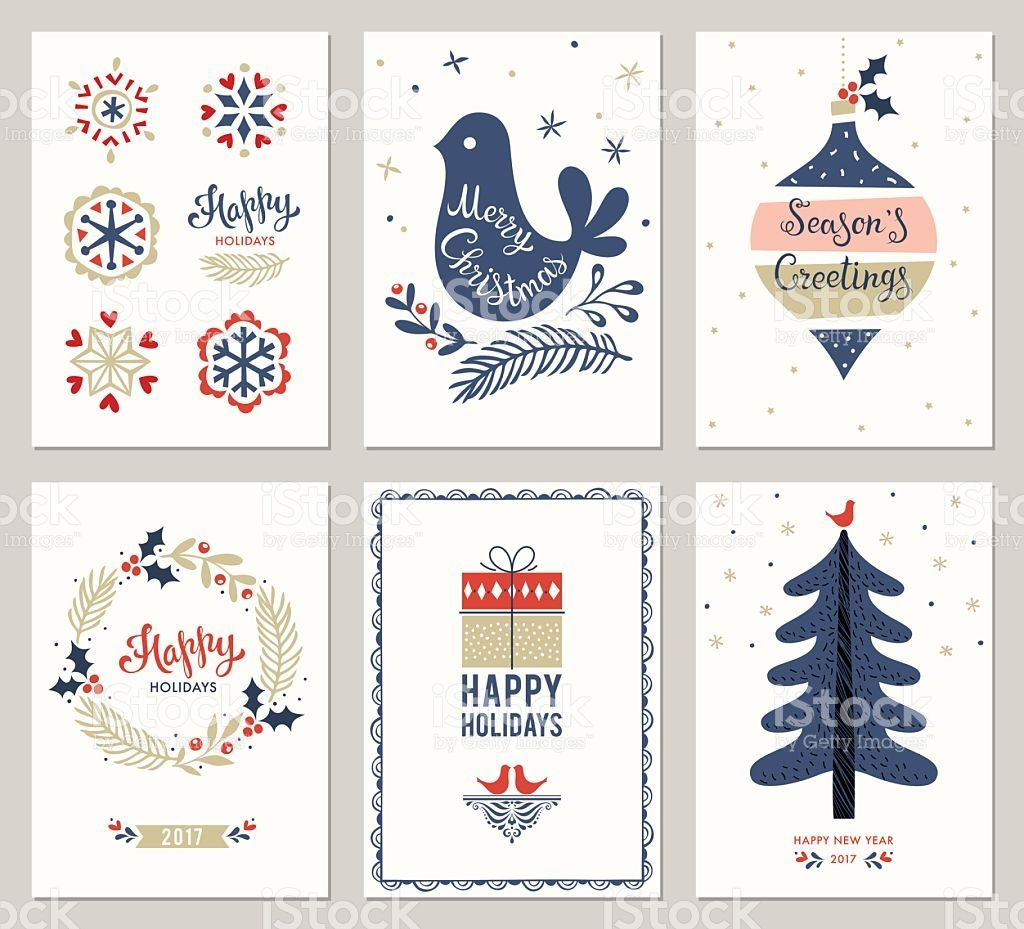 Merry Christmas greeting cards templates. Vector ...