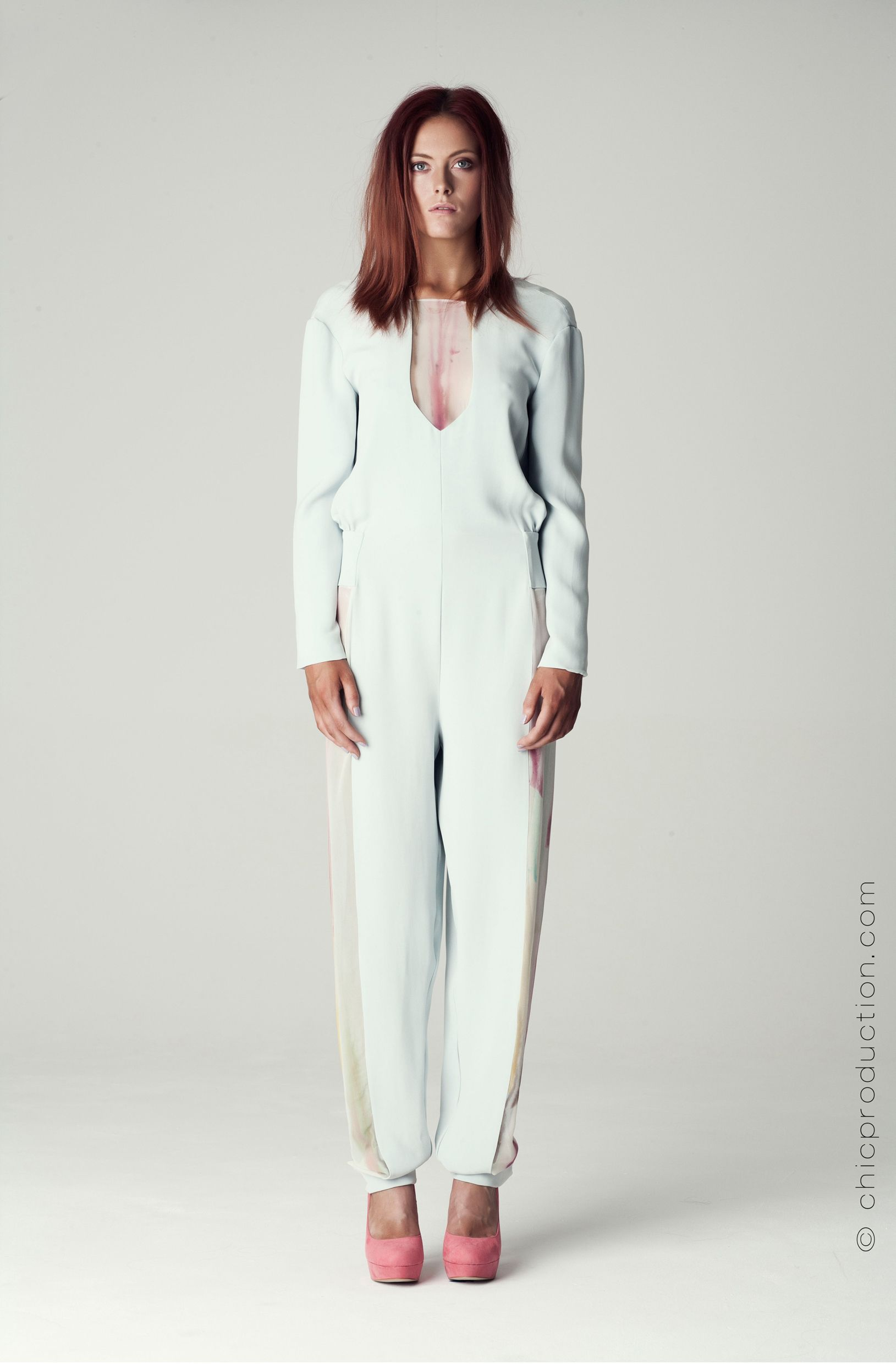 S/S 13 Hand dyed Jumpsuit.  Photographer: Richie Crossley  Model: Jade Louise Rodgers MUA: Jenna Kelly Assistant: Lotte Hansen