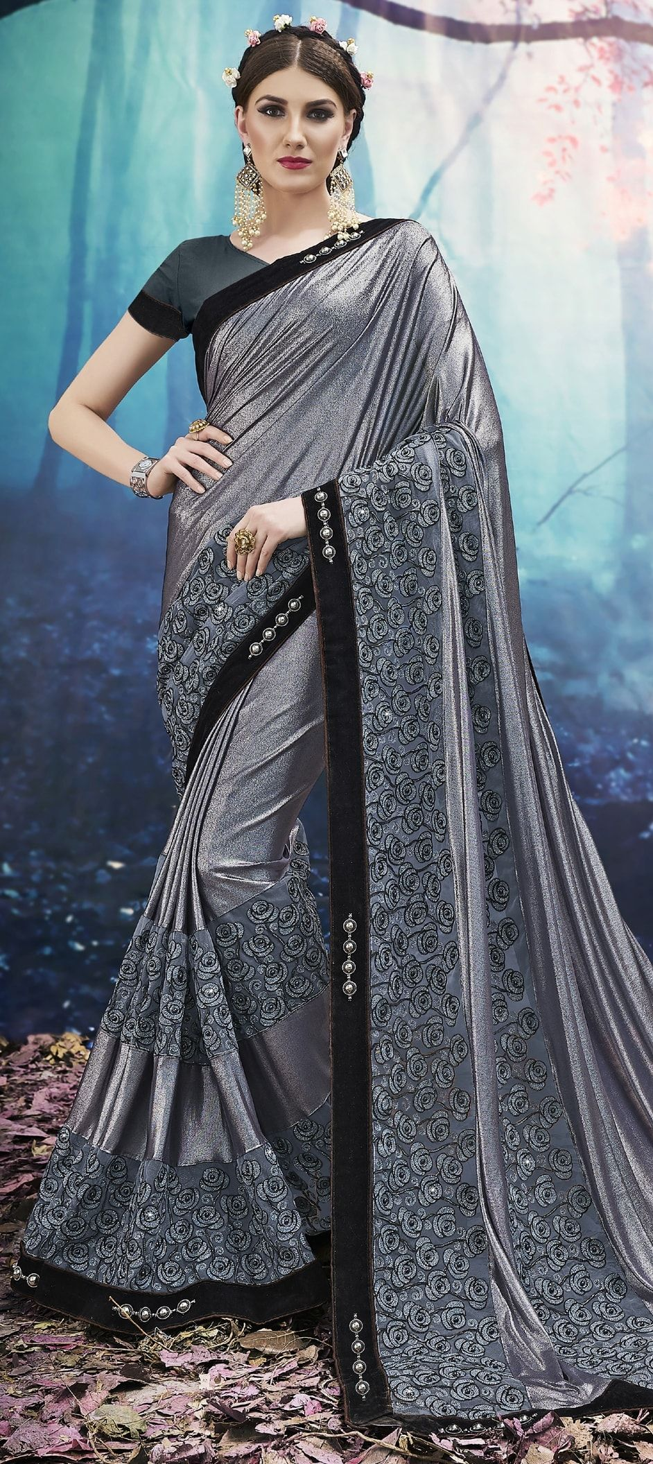 9c6e54aca1029c 771757 Black and Grey color family Embroidered Sarees, Party Wear Sarees in  Lycra, Net fabric with Machine Embroidery, Moti, Resham, Thread work with  ...