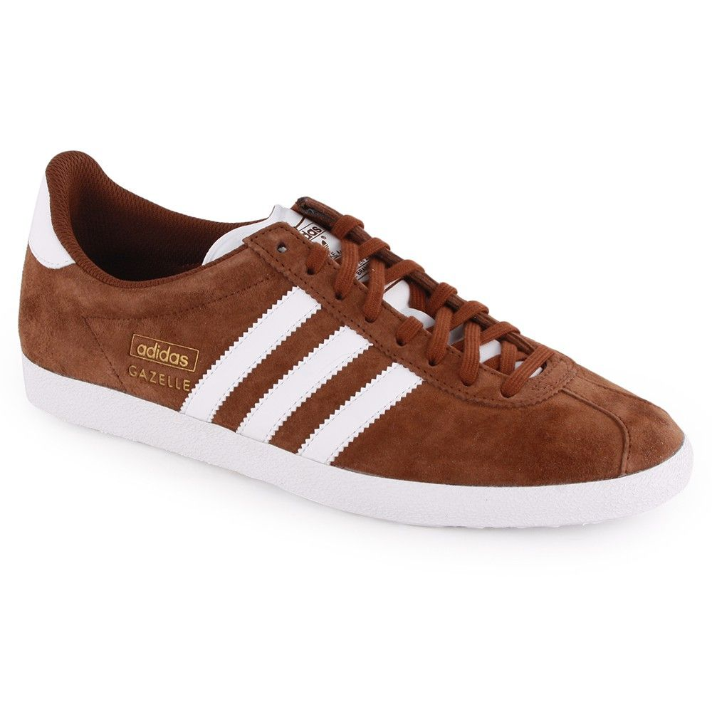 Adidas Gazelle OG Mens Trainers in Brown White | Adidas casual ...