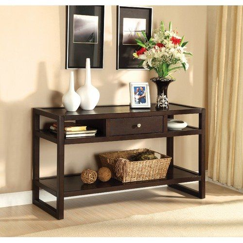 Hokku Designs Ambrose Solid Wood Sofa Table In Espresso Sofa Table Decor Contemporary Console Table Wood Sofa Table