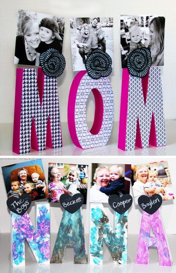 Letter Photo Display. Diy gifts for mom, Diy christmas