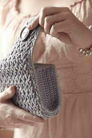 Crochet This Calypso Clutch Made With A Textured Chevron Pattern Sleek Stylish And Perfect For Night On The Town