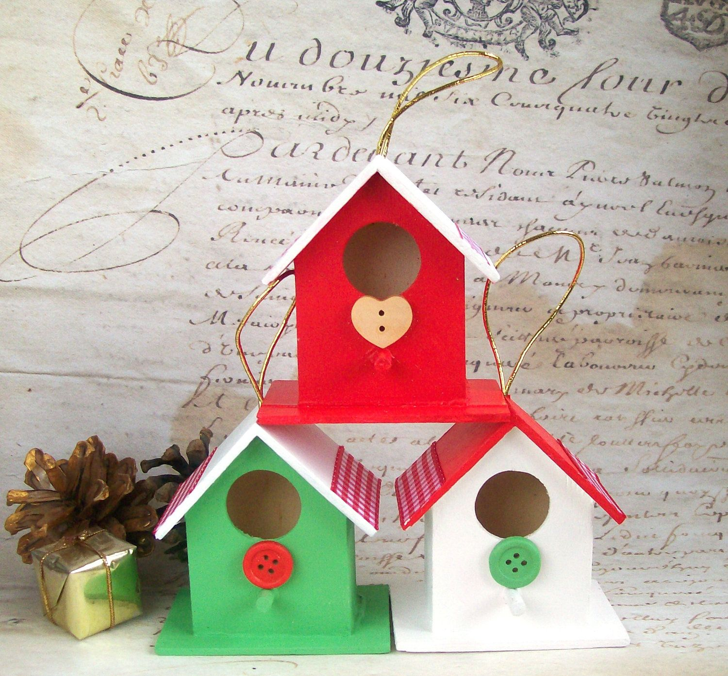Wood christmas decoration birdhouse ornament red white button
