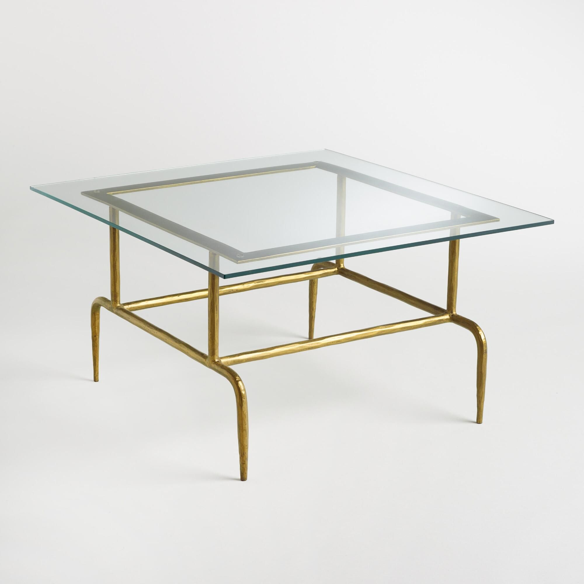 Glass And Metal Square Lorea Coffee Table By World Market Coffee Table Glass Coffee Table Pub Table Sets [ 2000 x 2000 Pixel ]