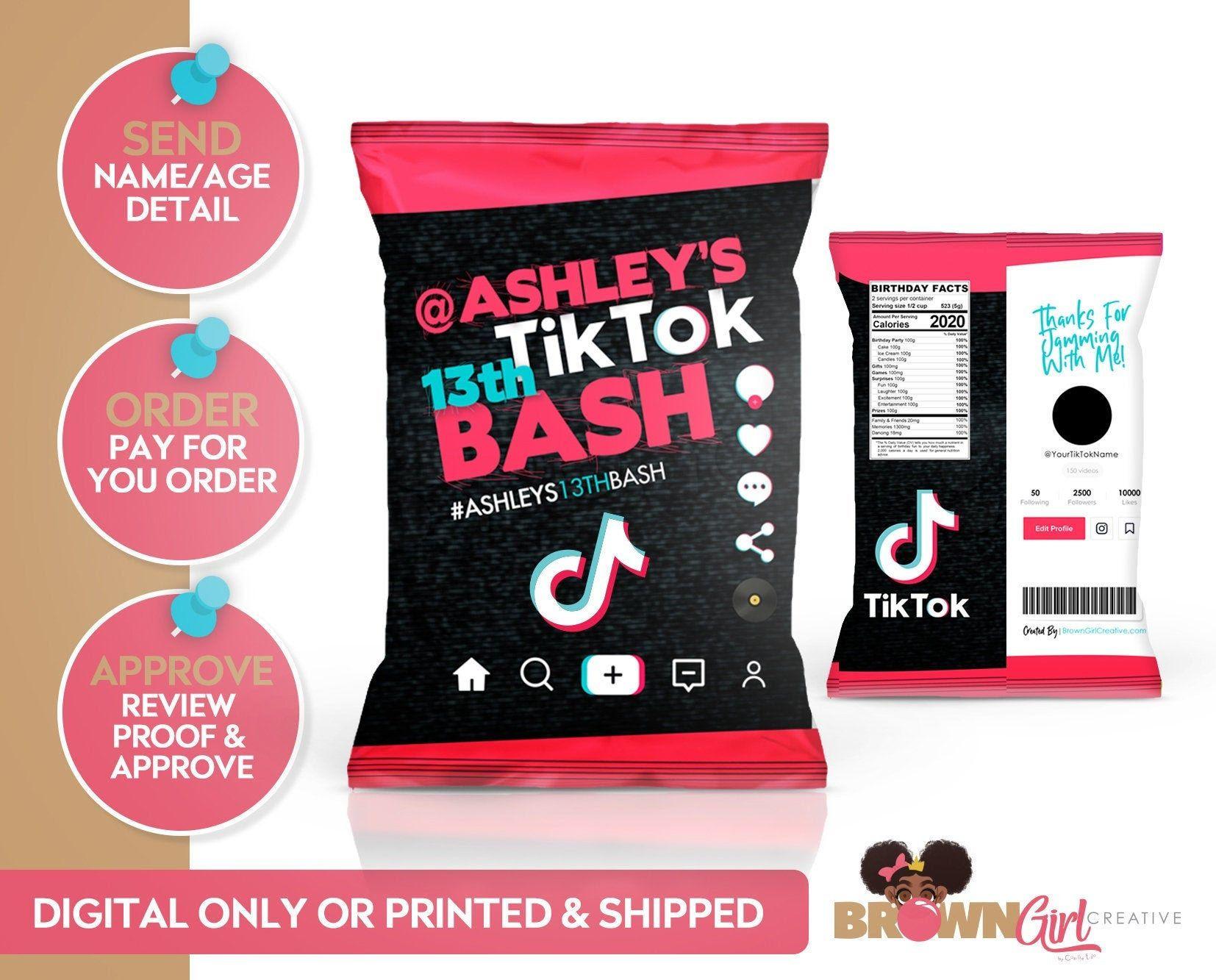 Tik Tok Inspired Chip Bag Favor Bag Tik Tok Chip Bag Etsy Birthday Party For Teens Birthday Party Themes Girls Birthday Party Themes