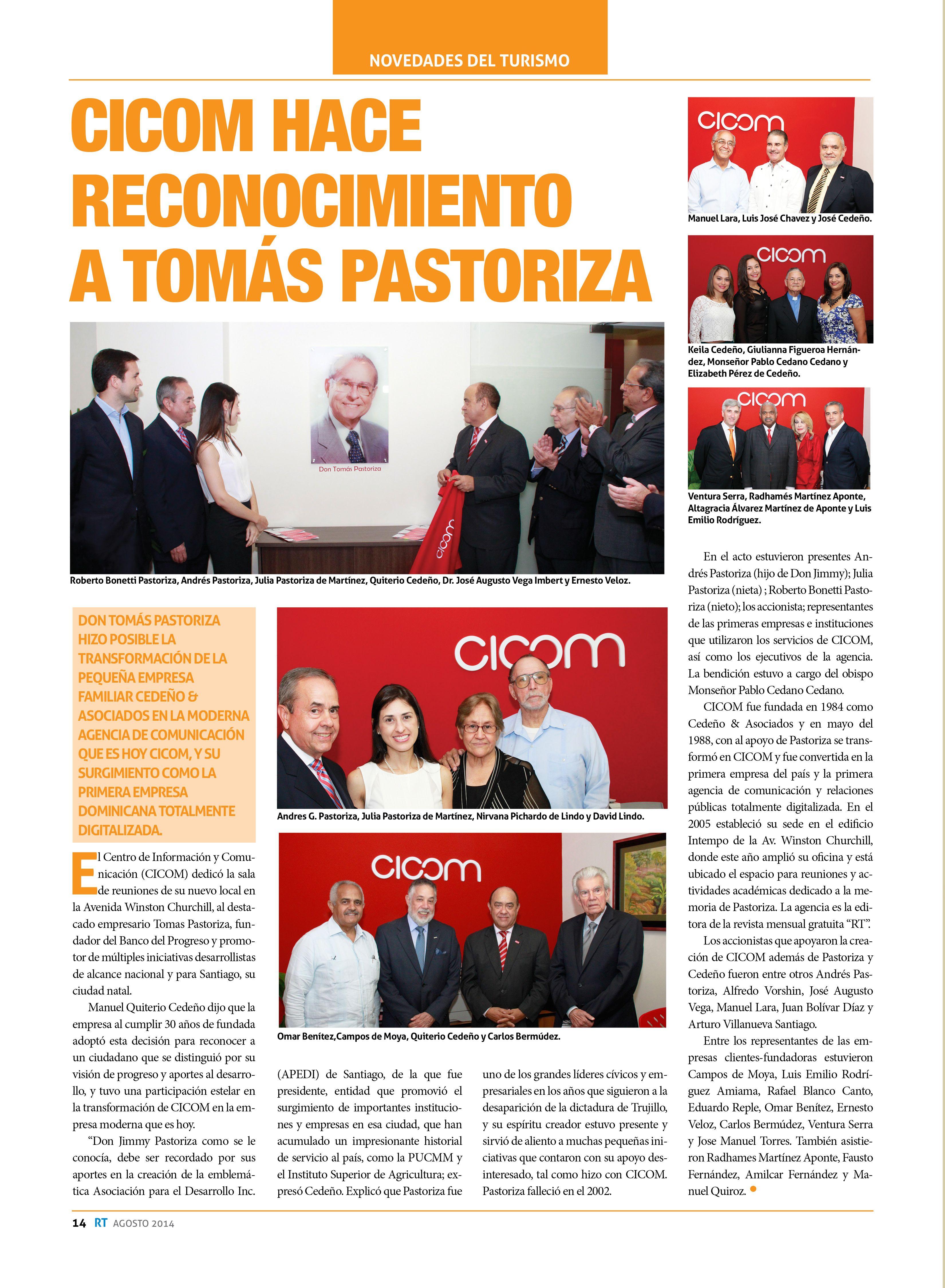 CICOM hace reconocimiento a Tomás Pastoriza
